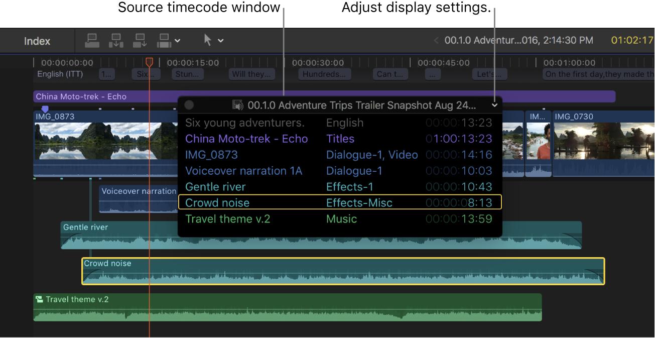 Ventana de código de tiempo del origen situada sobre clips en la línea de tiempo, con el código de tiempo del origen de los clips en la posición del cursor de reproducción