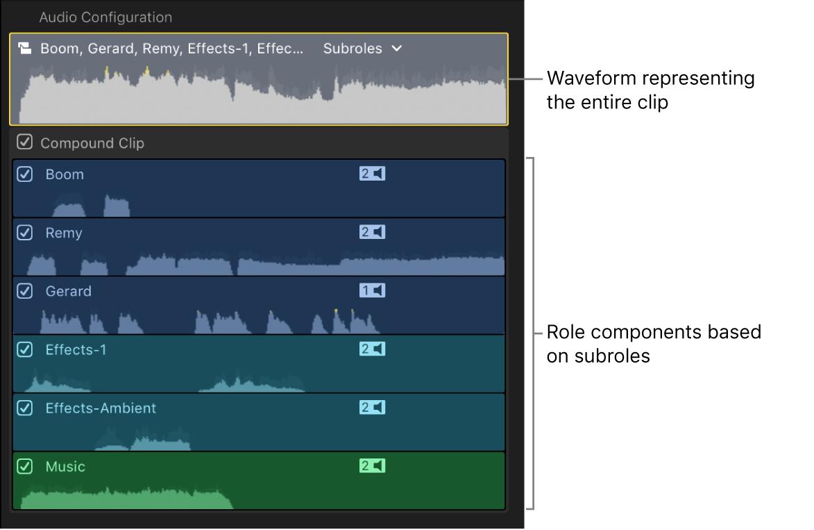 """Sección """"Configuración de audio"""" del inspector de audio con componentes de funciones basados en subfunciones"""