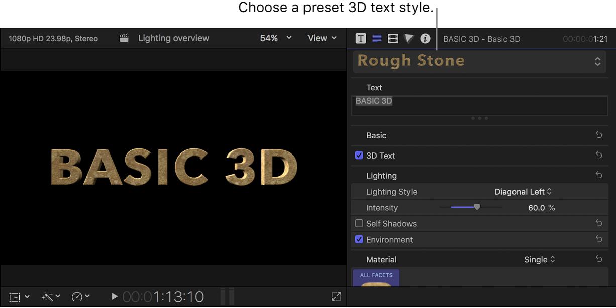 Un título 3D en el visor con el estilo de texto de preajuste Rough Stone y los ajustes del título mostrados en el inspector de texto