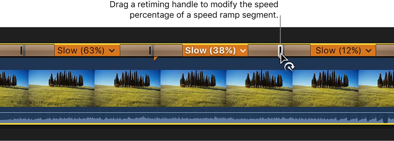 La línea de tiempo con un clip con tres segmentos de velocidad configurados con distintas velocidades