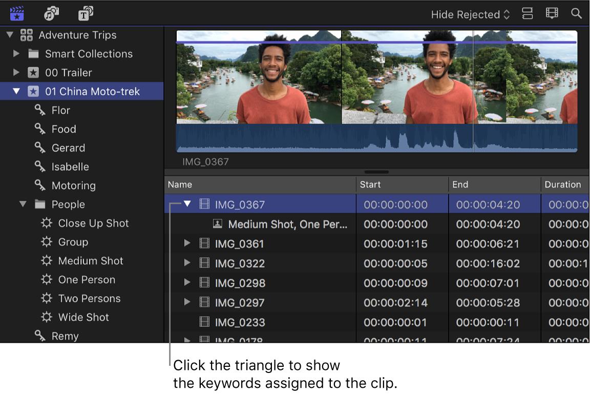 Explorador en la visualización como lista con palabras clave debajo del clip