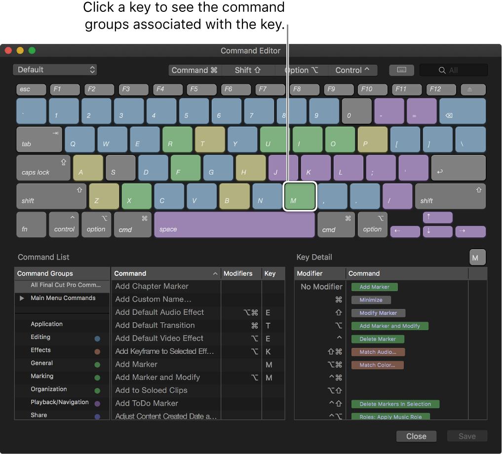 La ventana del editor de comandos con los grupos de comandos asociados a la tecla seleccionada