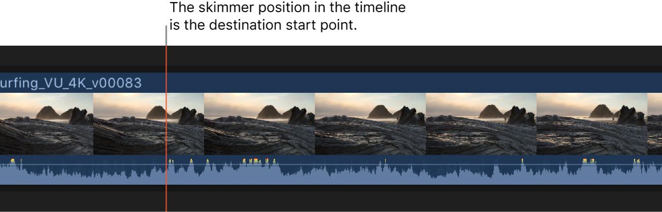 Skimmer situado en un clip de la línea de tiempo