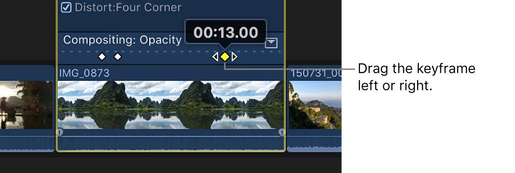 Un fotograma clave que se está arrastrando en el editor de animación de vídeo