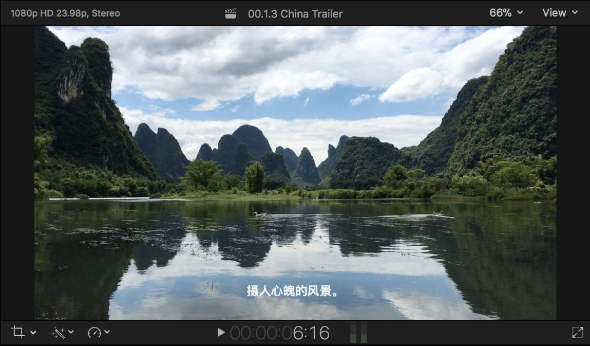 El visor con una imagen de vídeo con un subtítulo superpuesto