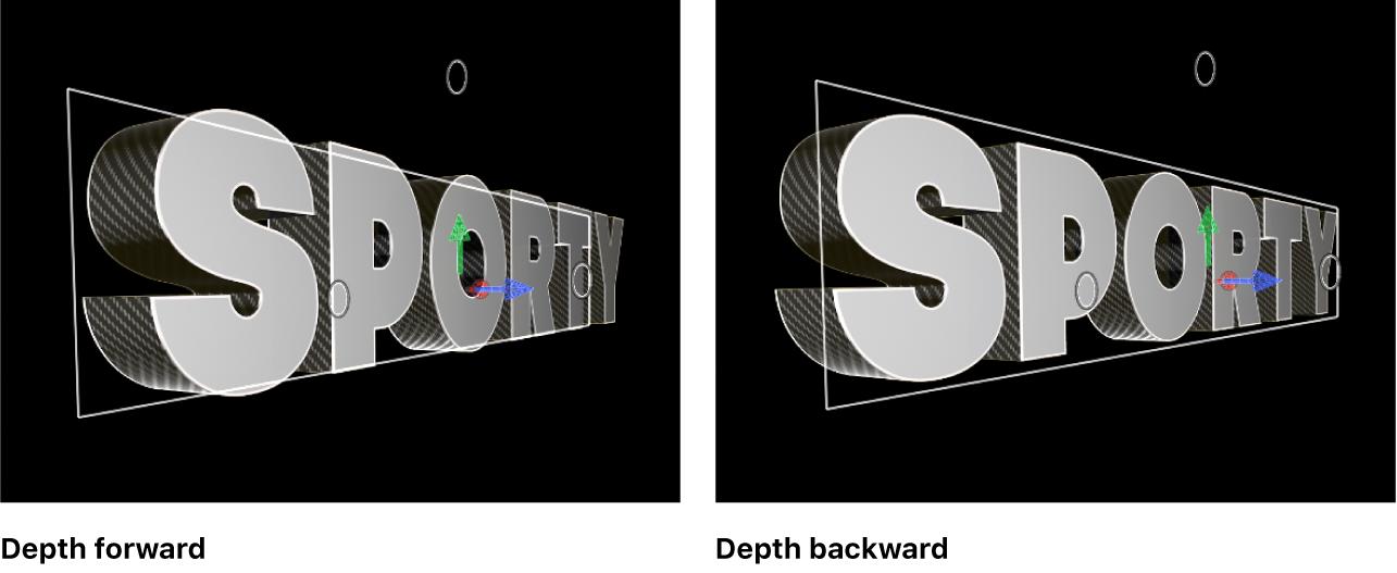 """Títulos 3D en el visor con """"Dir. profundidad"""" ajustado en Avance y Retroceso"""