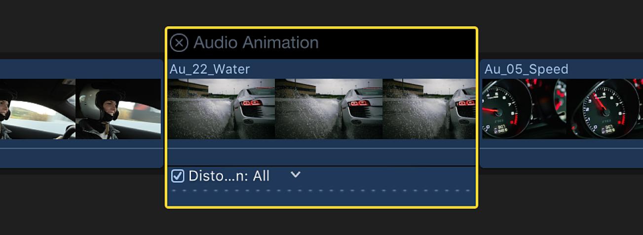 El editor de animación de audio mostrado sobre un clip de la línea de tiempo