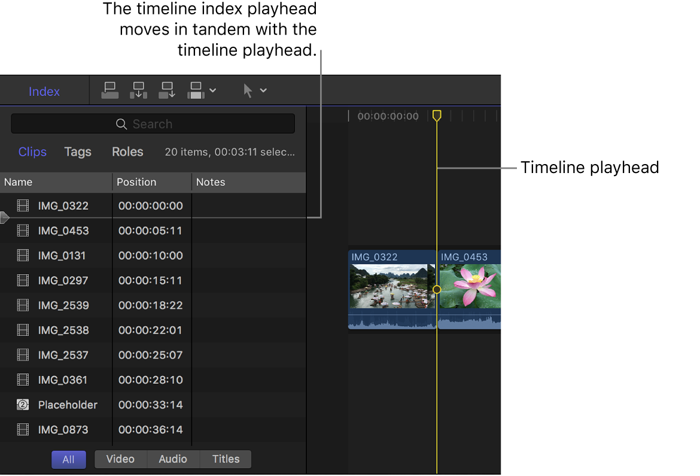Cursor de reproducción del índice de la línea de tiempo y cursor de reproducción de la línea de tiempo