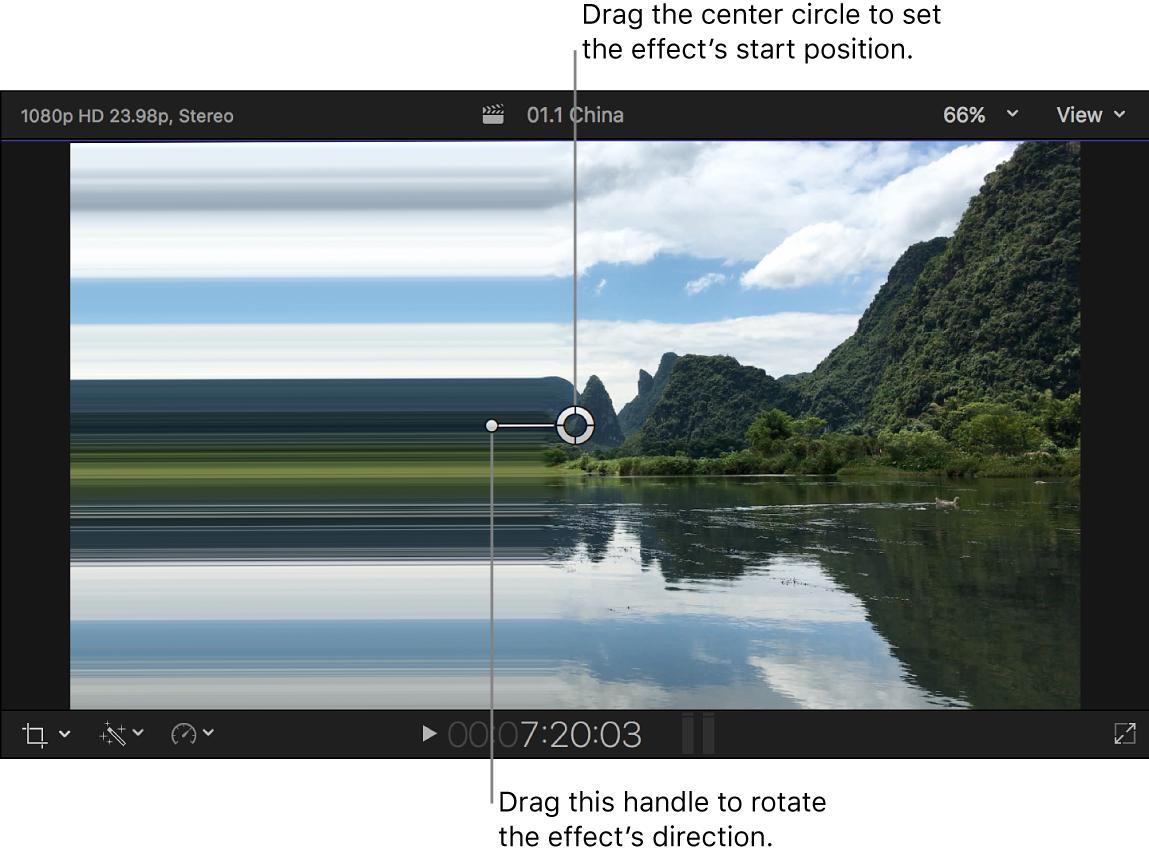 El visor con los controles en pantalla del efecto Abrasión