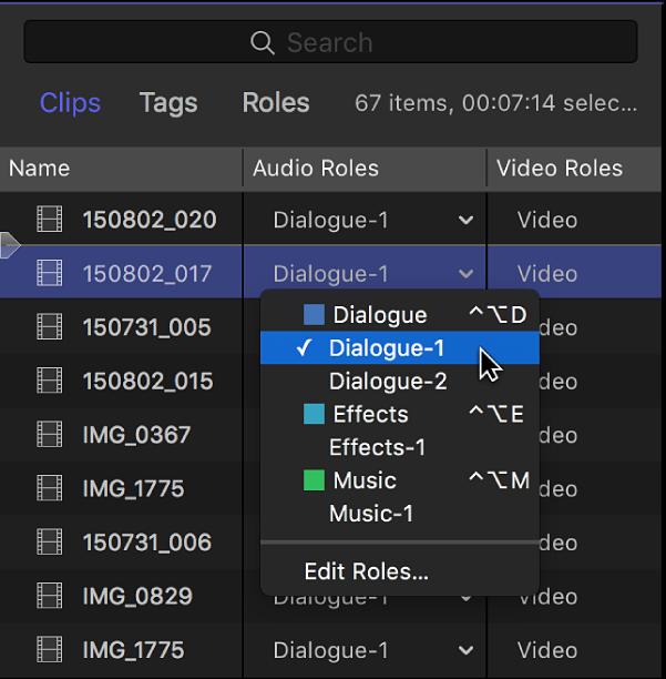 La columna Funciones del explorador en la visualización como lista con un menú que muestra las subfunciones disponibles