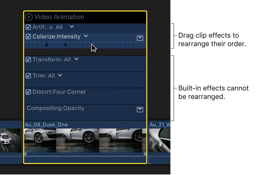 Un efecto que se está arrastrando a una nueva posición en el editor de animación de vídeo