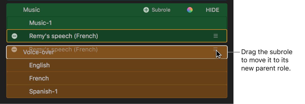 El editor de funciones con una subfunción que se está arrastrando de una función a otra