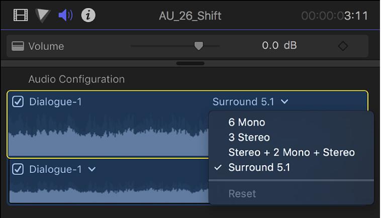 """La sección """"Configuración de audio"""" del inspector de audio con canales y ondas en el clip seleccionado"""