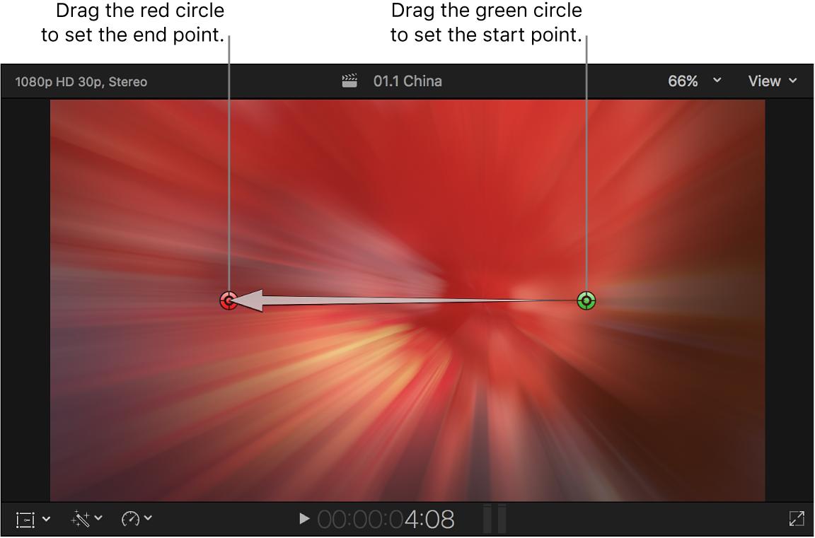 """El visor con los controles en pantalla de la transición """"Zoom y balance"""""""