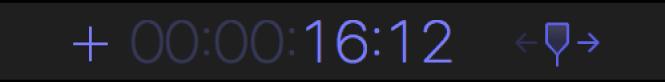 Visualización de código de tiempo que muestra el signo más y el número de segundos y fotogramas que se debe adelantar el cursor de reproducción