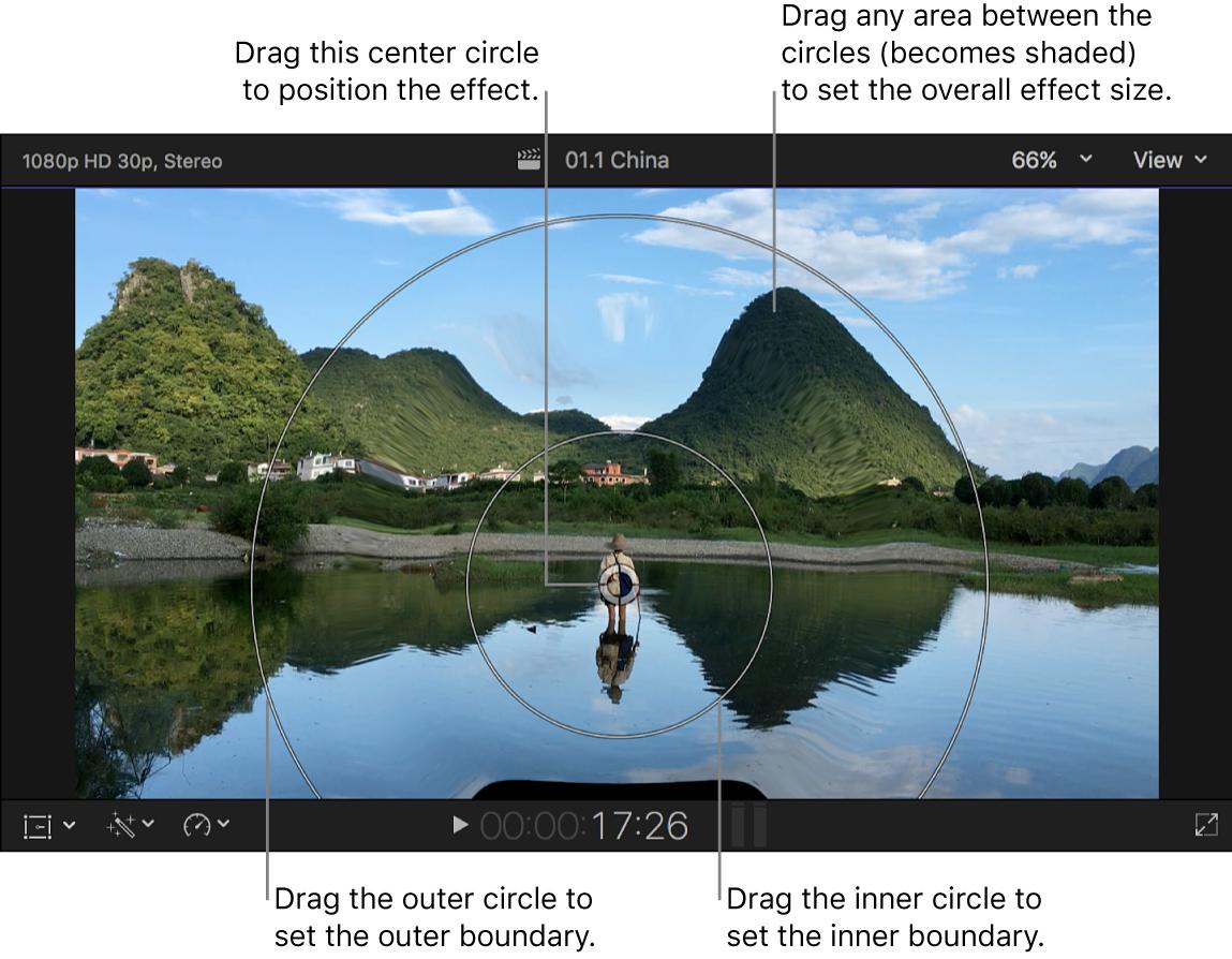 "El visor con los controles en pantalla del efecto ""Gota de agua"""