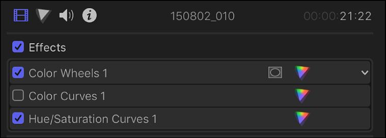 Correcciones de color en la sección Efectos del inspector de vídeo, con casillas a la izquierda para activar o desactivar las correcciones