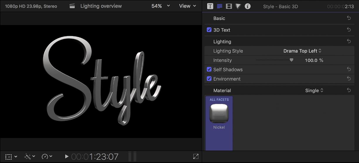 Un título 3D en el visor con los ajustes de estilo de iluminación mostrados en el inspector de texto