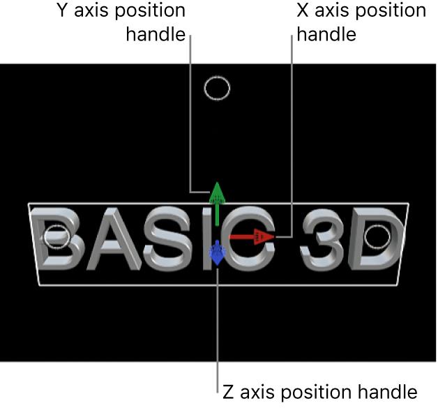 Un título 3D en el visor, con tiradores de posición para los ejes X, Y y Z
