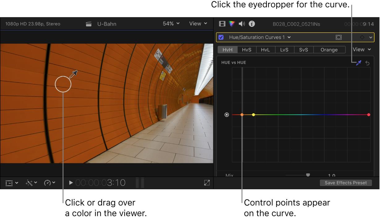 """El visor en la izquierda con el cuentagotas sobre un color de la imagen, y el inspector de color en la derecha, con los controles de """"Matiz frente a Matiz"""""""