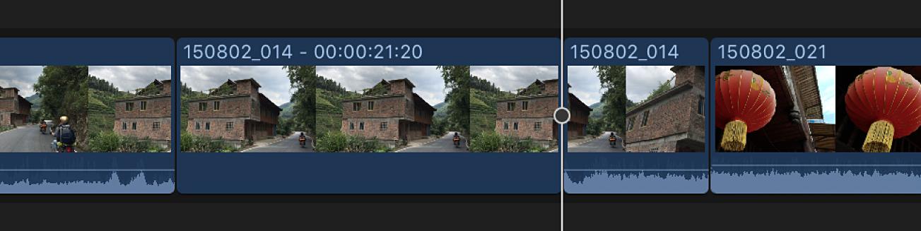 Clip de fotograma congelado insertado en la posición del cursor de reproducción en la línea de tiempo