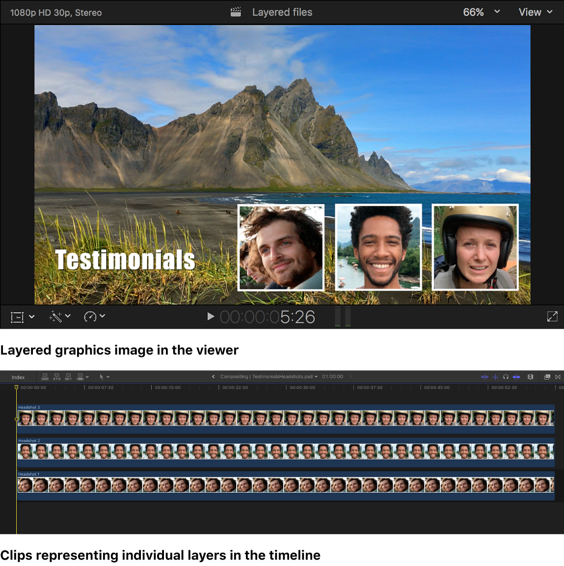 Capas de PSD convertidas en clips en la línea de tiempo