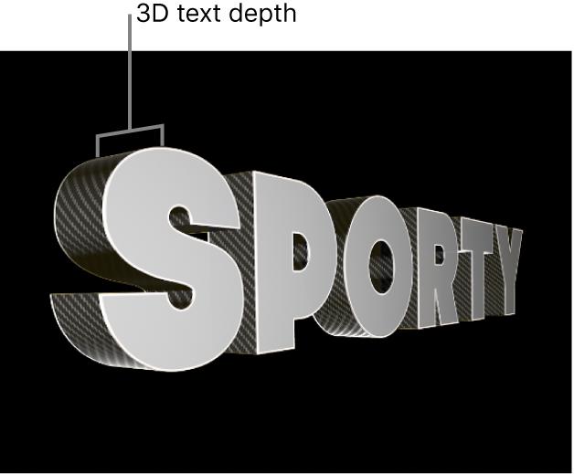 El visor con un título 3D desde el lateral