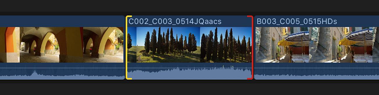 Clip en la línea de tiempo con punto final rojo para indicar el final del contenido disponible