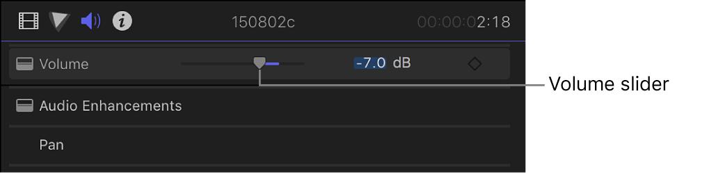 """Regulador Volumen en la sección """"Volumen y balance"""" del inspector de audio"""