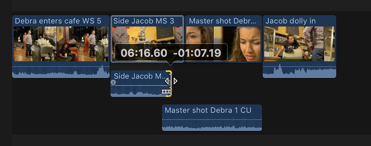 Arrastre del punto final del audio del clip anterior para evitar el solapamiento de audio en la línea de tiempo