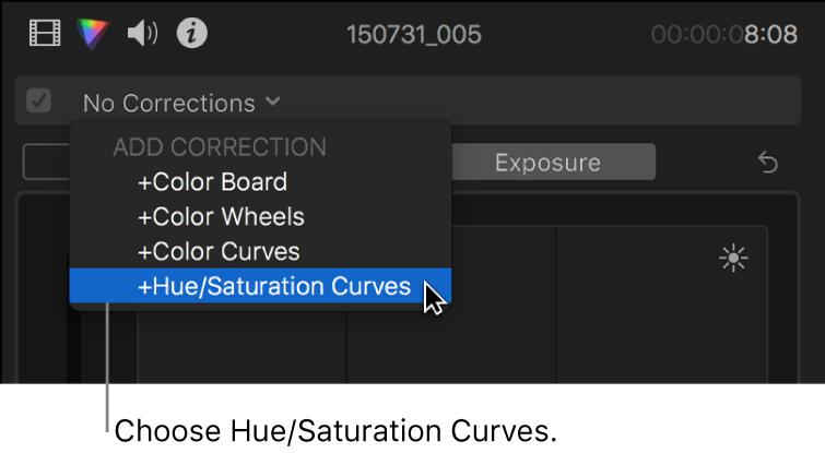 """Opción """"Curvas de matiz/saturación"""" seleccionada en la sección """"Añadir corrección"""" del menú desplegable de la parte superior del inspector de color"""