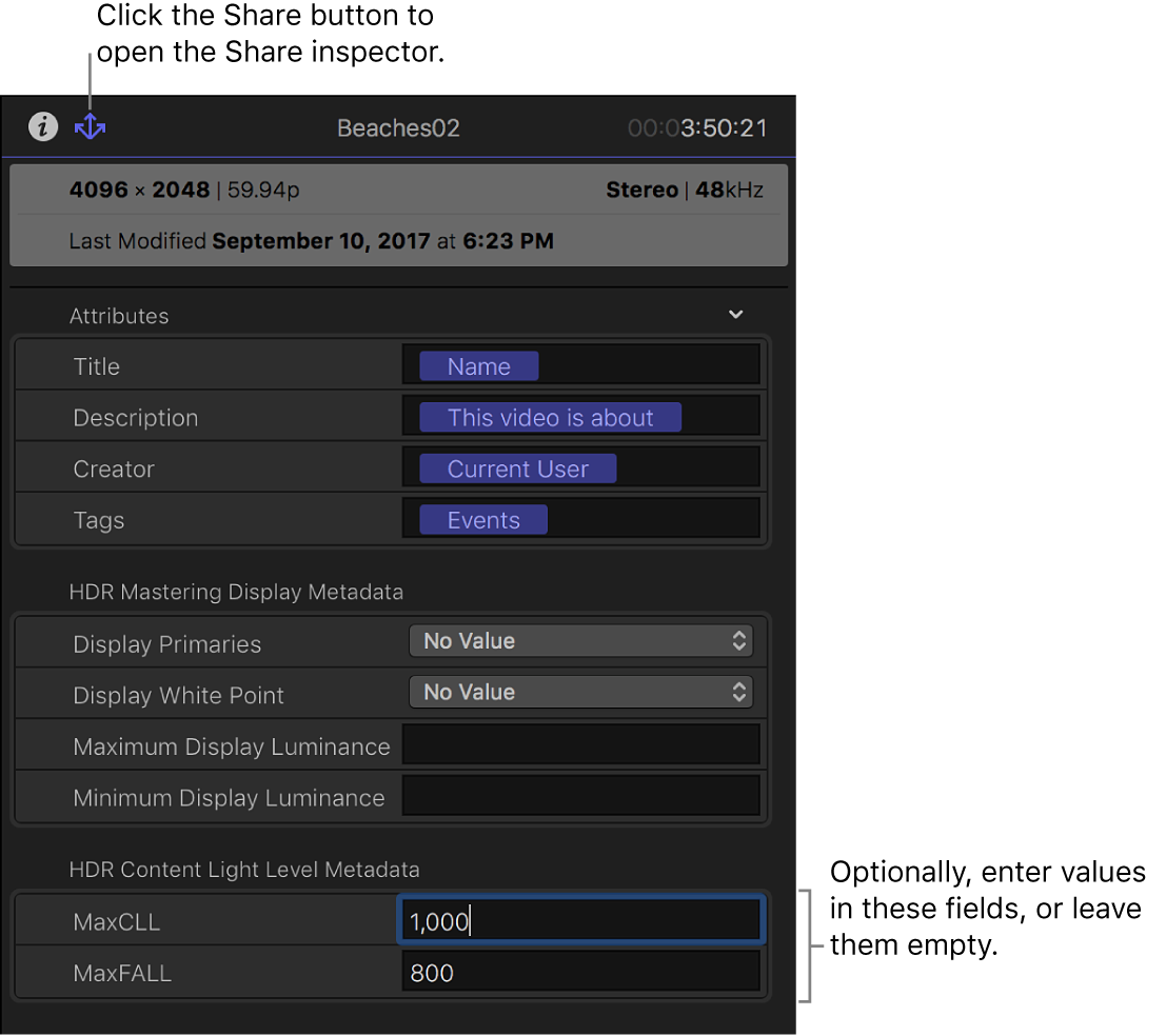 """El inspector de compartir, con los campos de metadatos de """"Gama cromática amplia (HDR) - Rec."""" 2020 PQ"""""""
