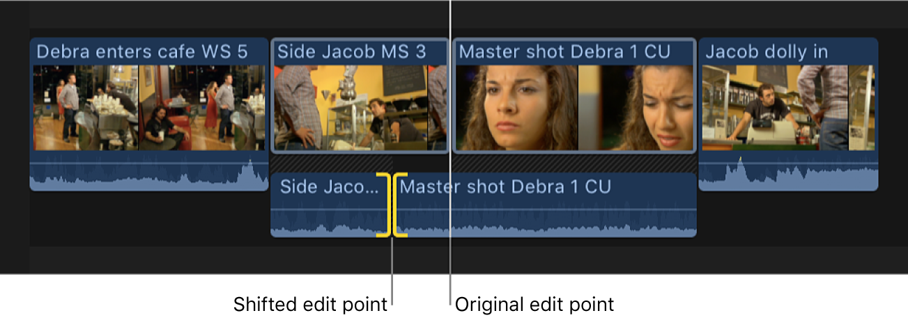 Un punto de edición de audio se muestra desviado hacia la izquierda para crear una división