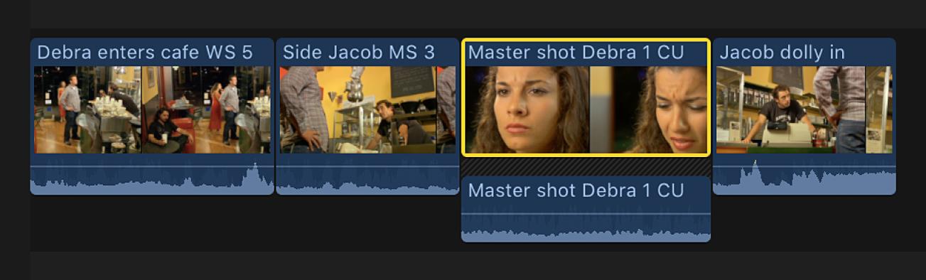 Vídeo y audio separados en un clip en la línea de tiempo