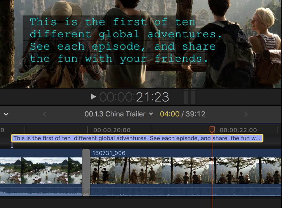 Un subtítulo de cuatro líneas en el visor y en la línea de tiempo
