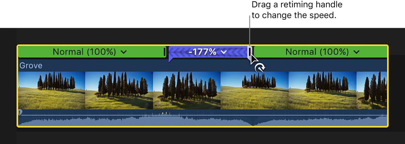 La línea de tiempo y arrastra del tirador de reprogramación de una sección rebobinada de un clip para ajustar la velocidad