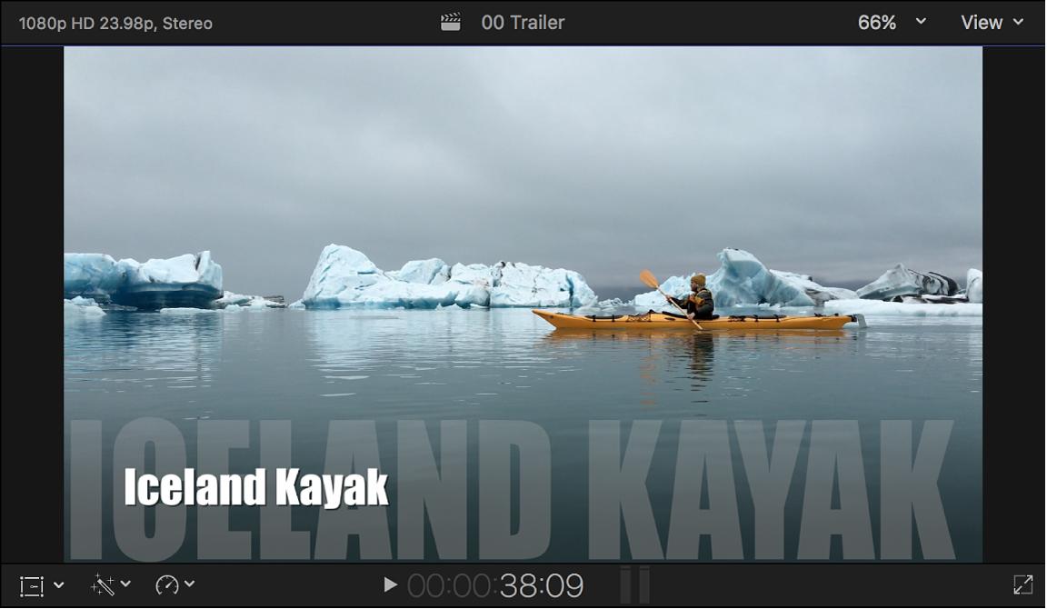 El visor con un tráiler con el texto del título situado en la parte inferior de la pantalla