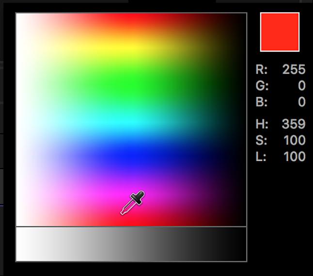 El control de cuentagotas en la paleta de colores emergente