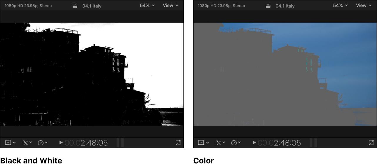 Instantáneas del visor en paralelo con la imagen del canal alfa en blanco y negro a la izquierda y las áreas visibles de la imagen a color enmascarada a la derecha
