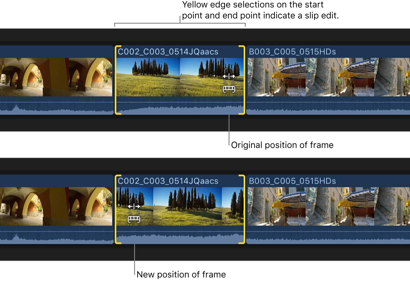 Cambios de los puntos de inicio y fin del clip de la línea de tiempo con una edición Slip, con la posición y duración del clip fijas