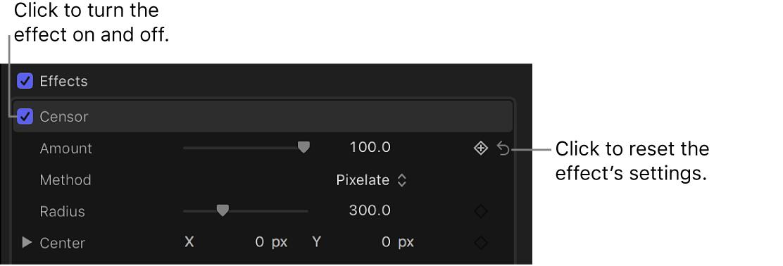 La sección Efectos del inspector de vídeo con los controles de ajuste de un efecto