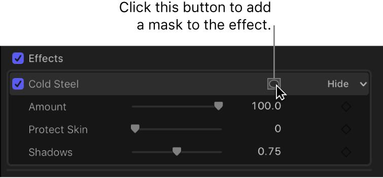 """La sección Efectos del inspector de vídeo con el botón """"Aplicar máscaras de efecto"""""""