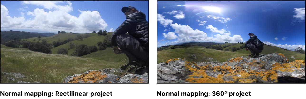 """Una imagen de 360° con asignación normal y la misma imagen con asignación """"Planeta diminuto"""", mostradas una al lado de la otra"""