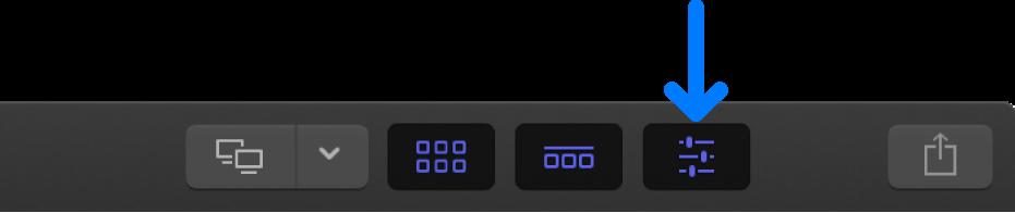 El botón Inspector de la barra de herramientas