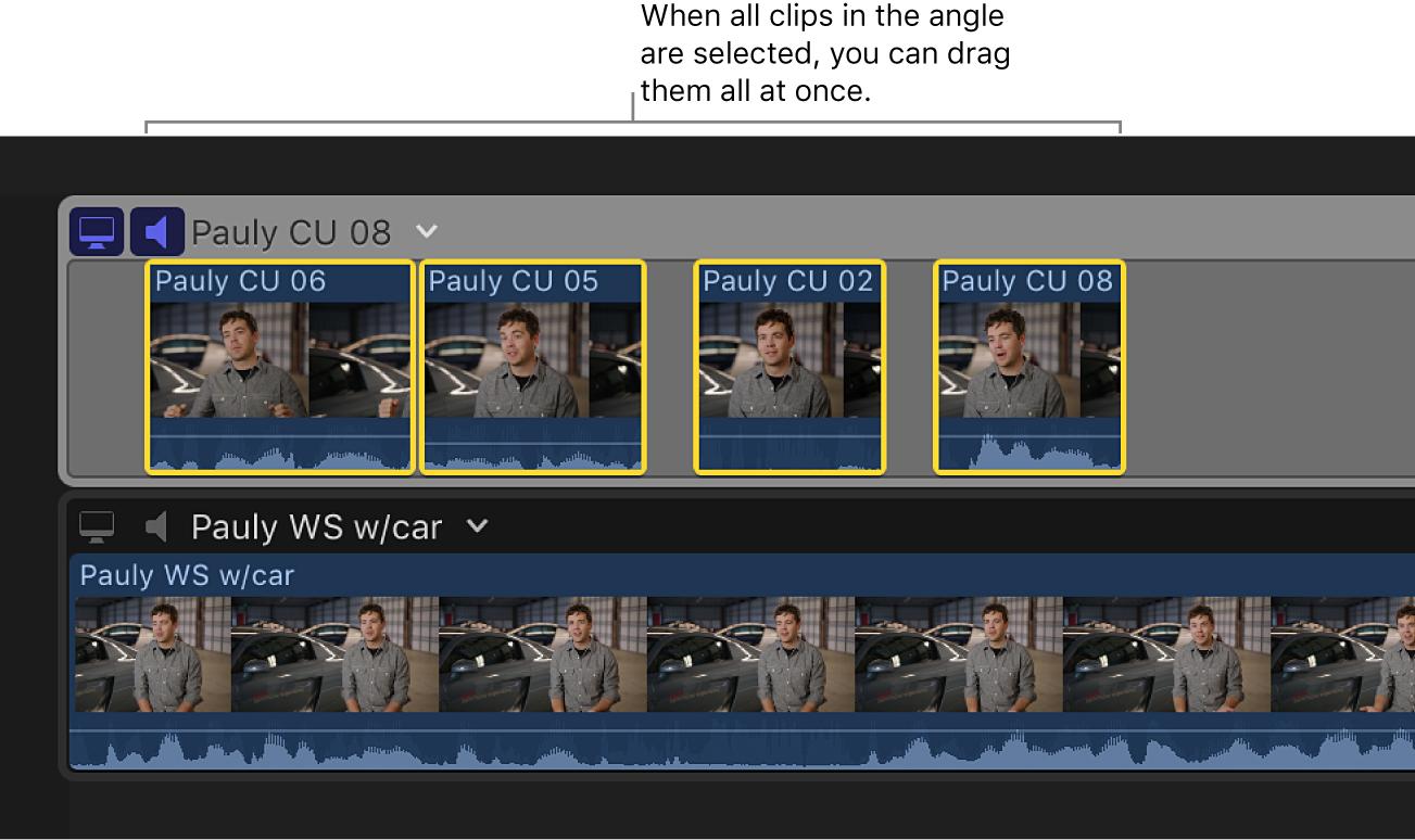 El editor de ángulo con un ángulo con todos los clips seleccionados