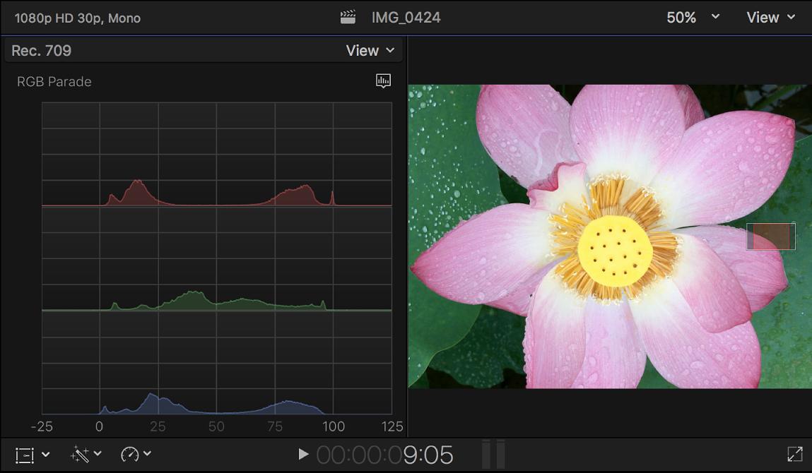 El histograma de combinación RGB mostrado a la izquierda del visor