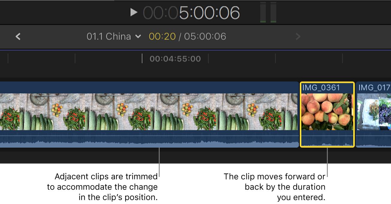 Clip movido en la línea de tiempo