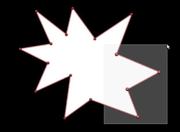 Visor con un rectángulo de selección arrastrado sobre varios puntos de control de una figura de máscara para seleccionarlos