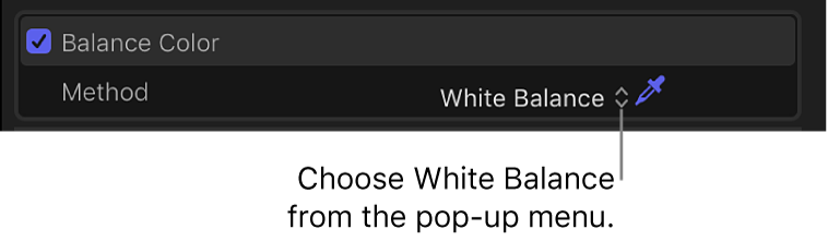 """Sección """"Equilibrar color"""" del inspector de vídeo con el ajuste """"Balance de blancos"""""""