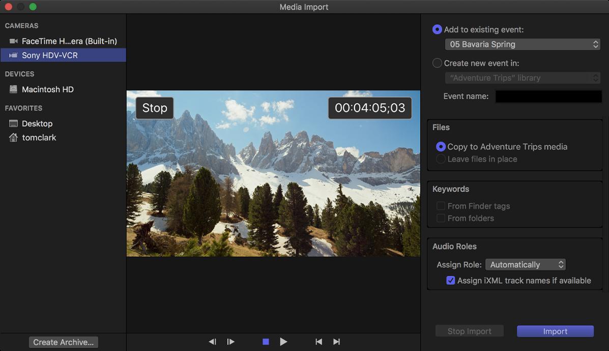 """La ventana """"Importar contenido"""" con un fotograma en la posición de código de tiempo de la cinta"""